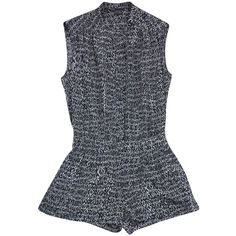 Pre-owned Vince- Static Grey Print Sleeveless Silk Romper Sz 0 ($111) ❤ liked on Polyvore featuring gray romper, grey romper, playsuit romper, sleeveless romper and sleeveless rompers