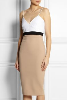 Victoria Beckham|Cami color-block stretch cotton-blend dress in white, taupe and black