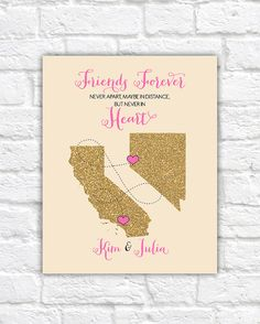 Friends Gift, Long Distance Friendship -  Personalized Art Print, Birthday Gift for Best Friend Sister Cousins Glitter Maps, BFF