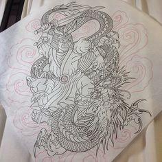 Oriental, Dad Tattoos, Dragon Design, Neo Traditional Tattoo, Chicano, Asian Art, Samurai, Tatting, Wolf