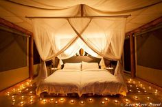 Glamping in Africa: Onguma Tented Camp, Namibia - A bit of a fire hazard but romantic as hell.