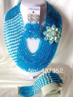 New Fashion Turquoise Blue crystal nigerian beads necklaces bracelet earrings Jewelry Set African Beads Jewelry Set CPS-1624 $68.47