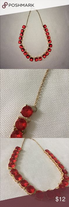 """Red """"ruby"""" necklace Red and gold jeweled necklace Charming Charlie Jewelry Necklaces"""