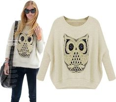 Christmas Owl Batwing Sleeved Loose Pullover Sweater For Women