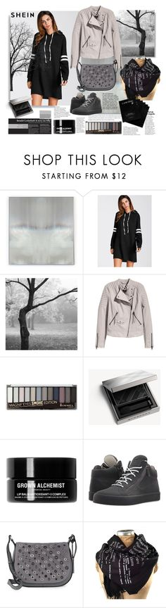 """""""Shein.Striped Hoodie Dress"""" by natalyapril1976 ❤ liked on Polyvore featuring Benson-Cobb Studios, Rimmel, Burberry, Grown Alchemist, Giuseppe Zanotti, Vince Camuto and Lancôme"""