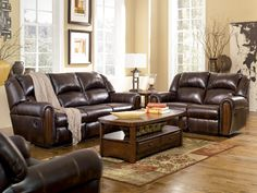 Woodsdale DuraBlend Antique Reclining Sofa U0026 Loveseat #sofa #loveseat  #livingroom #rana #