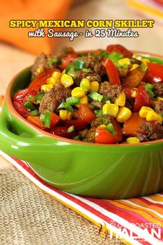 25 Minute Spicy Mexican Corn Skillet with Sausage Recipe ~ Says: Hot sausage combines with red bell and jalapeno peppers to add some fantastic flavor to the toasted corn. Finish this dish off with some fresh tomatoes and spices and you have a home run. Mexican Corn, Mexican Dishes, Mexican Food Recipes, Dinner Recipes, Spanish Dishes, Sausage Recipes, Pork Recipes, Cooking Recipes, Paleo Recipes