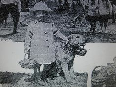 The popular Harding dog Laddie Boy with a fan at the 1922 Whtie House Easter Egg Roll.