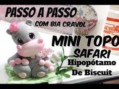 Mini Topo de Hipopótamo - Biscuit - Tema Safari - Passo a Passo com Bia ...