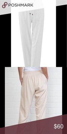 """Harlem Pants. White. NWT Super soft and comfortable twill drawstring Harem pants. Wear scrunched up or full length down at the ankles for two great looks. Pants have metal grommets, tie stopper and wide scrunch drawstring waistband. Approximately 30"""" inseam. Color: White 100% Rayon Machine wash cold, gentle cycle. Lay flat to dry. NWT two sizes available. S/M 8-10 and L/XlL 12-14 simply noelle Pants Ankle & Cropped"""