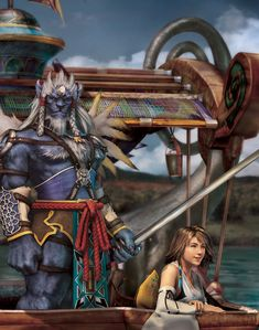 View an image titled 'CG Artwork, Kimahri & Yuna Art' in our Final Fantasy X art gallery featuring official character designs, concept art, and promo pictures. Final Fantasy X, Final Fantasy Artwork, Final Fantasy Characters, Fantasy Series, Yuna Cosplay, Anime Cosplay, Rhapsody In Blue, Animes On, Cg Artwork