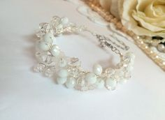 Bridal bracelet wedding bracelet bridal jewelry by FlowerRainbow