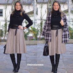 Look de trabalho - look do dia - look corporativo - moda no trabalho - work outfit - office outfit - winter outfit - fall outfit - frio - look de inverno - inverno - saia midi cinza - midi skirt - casaco - coat - black -