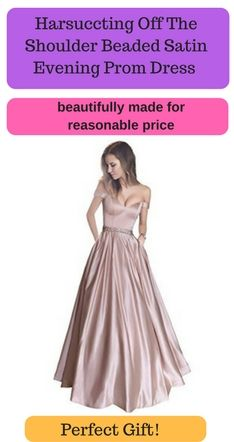 0027421428 Harsuccting Off The Shoulder Beaded Satin Evening Prom Dress With Pocket   promdress