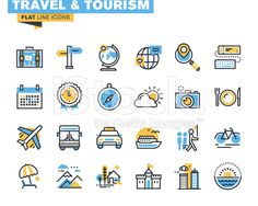 Flat line icons set of travel and tourism royalty-free stock vector art