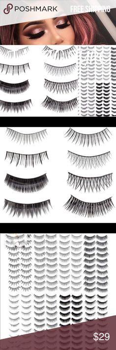 False black Eye lashes 80 pairs 80 pairs of beautiful false eyelashes, 8 different styles Makeup False Eyelashes
