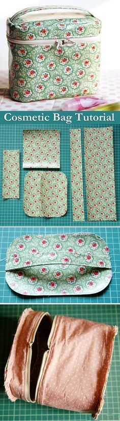 Sew a zippered cosmetic bag. Pattern. DIY tutorial in pictures. http://www.handmadiya.com/2015/10/a-zippered-cosmetic-bag.html