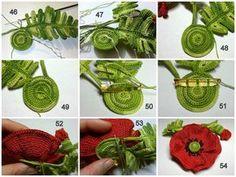 Tunus İşi Tekniği Örgü Çiçek Yapımı 22