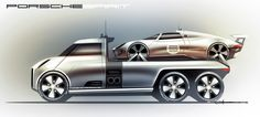 Porsche Design Car Design Sketch, Truck Design, Car Sketch, Slide In Camper, Suv Trucks, Industrial Design Sketch, Motorcycle Design, Porsche Design, Transportation Design