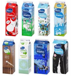 Valio milk cartons. New designs on cartons hit the shops in Nov. 2011. No one ever buys the red one (It's full fat). My favourite design is the nahkatakki (bottom right) the badges and patches on the jacket have cool slogans (in English too!)