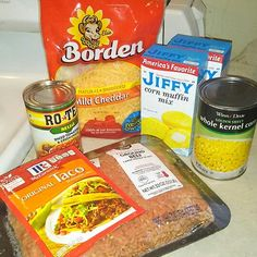 TACO CASSEROLE 2lbs of ground beef, one pack of taco seasoning, one can of corn (optional), one can of Rotel, shredded cheese, 2 boxes of Jiffy Cornbread! 1)You cook down your ground meat drain   2)  then add taco pack, corn and rotel cook it down for about 15 minutes more.   3) spread meat out in a pan.   4) cover meat with cheese.   5) pre-heat oven to 400   6)mix your cornbread together.   7) pour cornbread mix on to the whole thing cover all the cheese.   8) pop it in the oven for about…