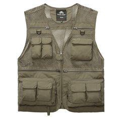 2017 Men's Mesh Vests With Multi Pockets Vest Causal Regular Photography Vest Waistcoat Cotton Two Colors Plus Large Size 3XL
