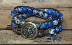Air Force Wife Double Wrap Bracelet w/ Blue Sea by DesignsByJen1,