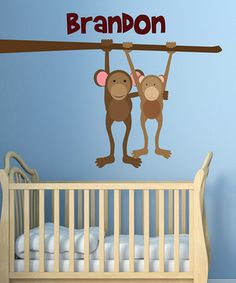 Personalize the room of any little animal lover with this monkey decal set. Made with durable, woven fabric that is stiff but not overly so, it is repositionable and virtually impossible to tear. Easy to apply, these decals can be repositioned and transferred to other walls and surfaces, even textured walls, many times.