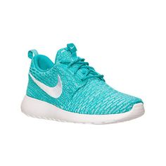 Nike Women's Roshe One Flyknit Casual Shoes, Blue ($120) ❤ liked on Polyvore featuring shoes, blue, flyknit shoes, cocktail shoes, nike, special occasion shoes and blue shoes