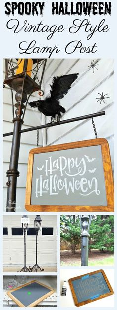 How to upcycle a vintage light post candle holder into a DIY vintage style lamp post street sign for outdoor Halloween decor by Sadie Seasongoods / www.sadieseasongoods.com