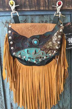 Hip Bag Company Western Leather Fringe Small Purse w Nail Heads Biker Bag M3 | eBay