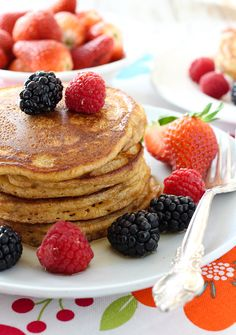 A simple recipe for Buttermilk Pancakes Made with Spelt Flour. These pancakes taste absolutely delicious served with some maple syrup and fresh berries.