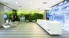 Unbelievable reception desk ideas for your office space. Thirty recpetion desk ideas for your minimalist office space. Best Office Design, Cool Office, Office Interior Design, Lobby Interior, White Office, Office Designs, Lobby Reception, Office Reception, Reception Areas