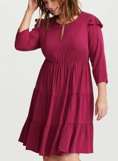 3d53399aed4 Torrid 2X DRESS Wine Burgundy Ruffle Tiered Peasant Boho Skater Fit   amp Flare 30P