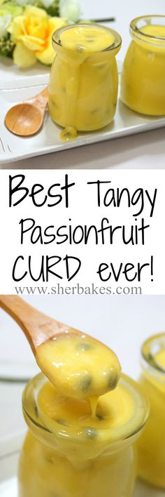 Passionfruit Curd - Tangy, Smooth and So Delicious. - Tangy Passionfruit curd that is so yummy! Great pairing for desserts or greek yogurt - Jam Recipes, Sweet Recipes, Cooking Recipes, Passionfruit Recipes, Passionfruit Butter, Passion Fruit Curd, Salsa Dulce, Curd Recipe, Dessert Sauces