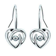 Shimmering Diamonds® Dangling Heart Earrings In Sterling Silver With Ctw. Diamonds by Ostbye. Heart Earrings, Dangle Earrings, Valentines Jewelry, Silver Diamonds, Diamond Heart, Fashion Earrings, Sterling Silver, Fine Jewelry, Sparkle