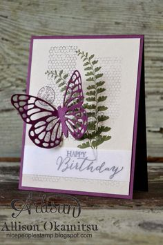 (idea for layout) nice people STAMP!: Stampin' Up! Butterfly Basics Card by Allison Okamitsu. Check out this new stamp set and framelits! The butterflies are so intricate and beautiful. Pretty Cards, Cute Cards, Diy Cards, Birthday Cards For Women, Happy Birthday Cards, Birthday Wishes, Butterfly Cards, Flower Cards, Orange Butterfly