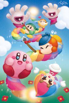 「スーパーレインボー」/「ぺぱでん」のイラスト Kirby and the rainbow curse [pixiv]