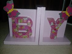 baBY bookends, decoupage letters