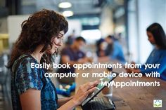Easily book appointments from your computer or mobile device with MyAppointments. #SchedulingSoftware #OnlineBooking #247Booking