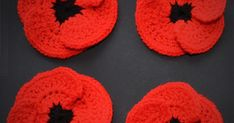 I do love Poppies and love that time of year just before harvest when the poppies are gently blowing in the wind with the corn. Crochet Poppy Pattern, Crochet Flower Patterns, Crochet Crafts, Free Crochet, Knit Crochet, Crocheted Flowers, Remembrance Day, Fall Halloween, Swan