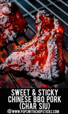 and Sticky Char Siu (Chinese BBQ Pork) Sweet and Sticky Chinese BBQ Pork (Char Siu) recipe! Perfect for the upcoming bbq seasonSweet and Sticky Chinese BBQ Pork (Char Siu) recipe! Perfect for the upcoming bbq season Rib Recipes, Grilling Recipes, Asian Recipes, Chicken Recipes, Cooking Recipes, Pork Recipes For Dinner, Barbecue Recipes, Cookbook Recipes, Mexican Recipes