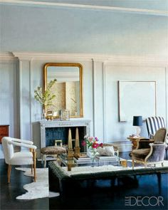 Nate Berkus / William Waldron via Elle Decor {eclectic traditional modern living room} love the mirror My Living Room, Living Room Decor, Living Spaces, Elle Decor, Living Room Inspiration, Interior Inspiration, Design Inspiration, Interior Decorating, Interior Design