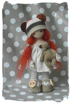 Betsey and Bear. free standing cloth art doll. by forrestfairy, £30.00