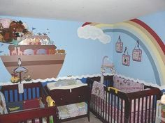 Twin Noah's Ark Baby Nursery Wall Mural Designed by Dad: This Noah s Ark nursery for twins was designed by their daddy and a very proud daddy he is! He not only did a super job with painting and decorating the