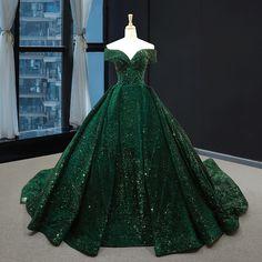 Sequin Evening Dresses, Ball Gowns Evening, Ball Gowns Prom, Ball Gown Dresses, Party Gowns, Green Ball Dresses, Dark Green Prom Dresses, Dresses Dresses, Dress Party