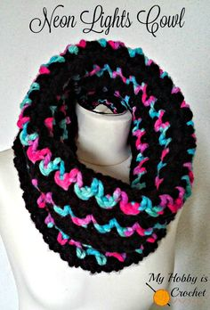 FREE crochet pattern for a Neon Lights Cowl by My Hobby is Crochet.