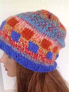 Beanie Beret Slouch Hand Knit Multicolor by HANDKNITS2LOVE on Etsy