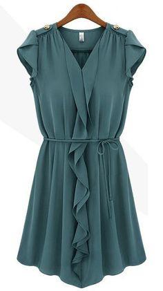 Fold V-neck flounced lace chiffon dress - Sleeveless