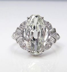 1920..Vintage Estate GIA 3ct Old Mine OVALl Cut Diamond Engagement Wedding Ring in PLATINUM